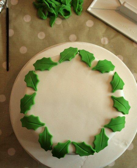 Christmas holly wreath cake